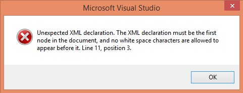 Figure 11: XML Error Message - Click OK