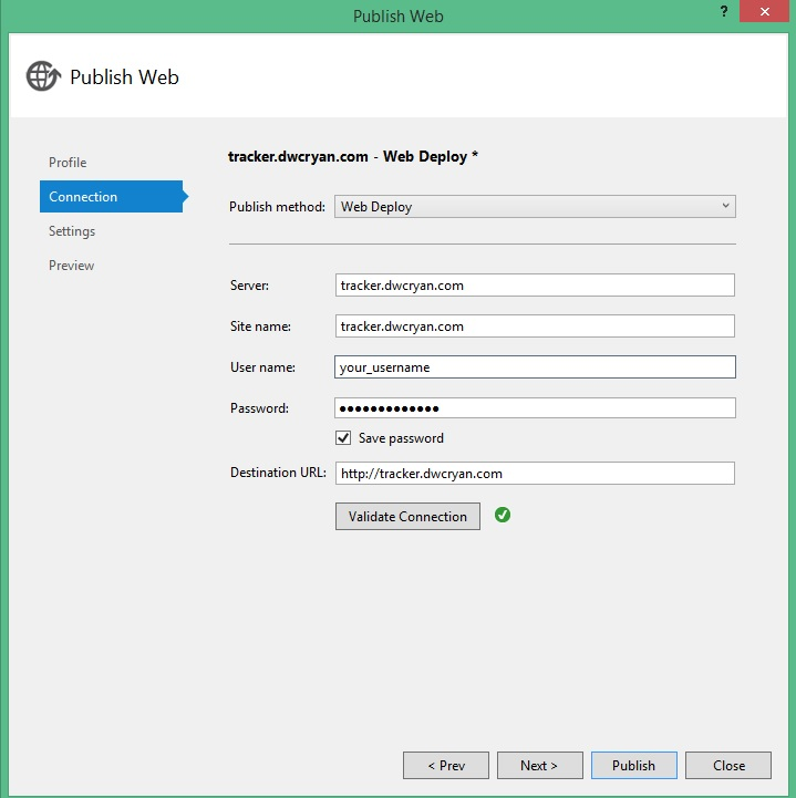 Step 5 - Enter Password and Validate Connection