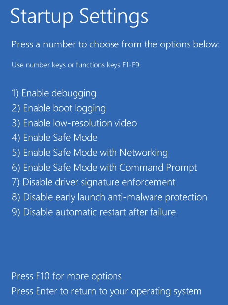 Windows 10 Startup Settings List