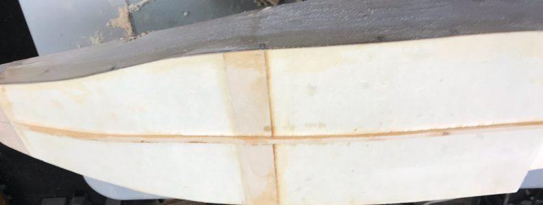 Keel glued to bottom of fuselage