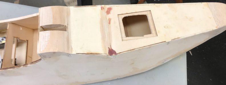Sanded paste where balsa blocks meet fuse